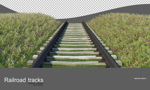Railroad tracks in flower and shrub gardens