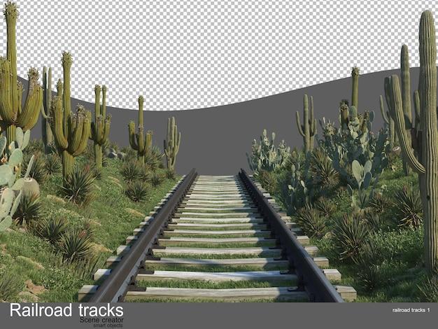 꽃과 관목 정원의 철도 트랙