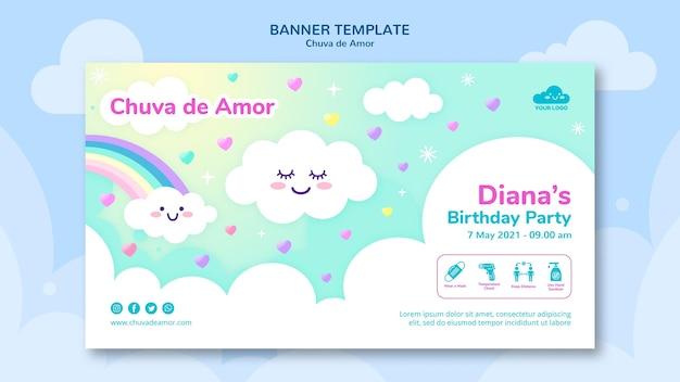 Rain of love banner template