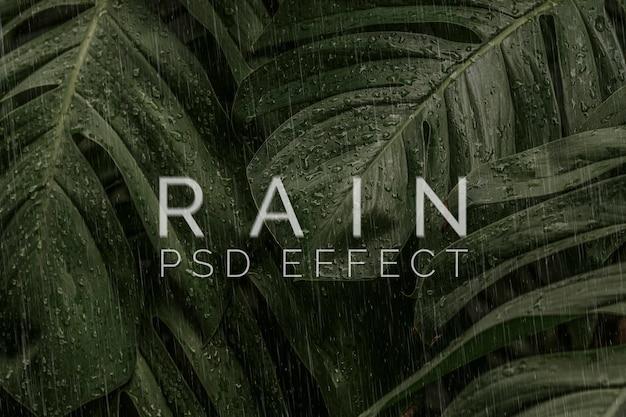 Componente aggiuntivo di photoshop con effetto psd di sovrapposizione della pioggia