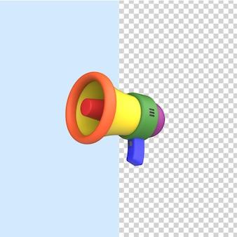 ゲイプライド、lgbtプライド、lgbtqシンボルのレインボーメガホン3dアイコン。モデルをレンダリングします。