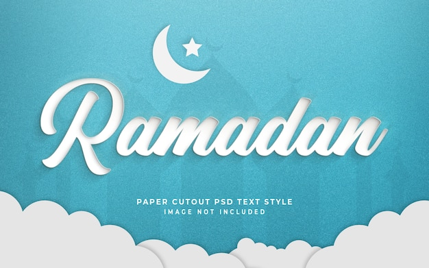 Ramadan 3d text style effect mockup with paper cut style