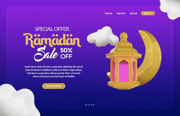 Ramadan banner template with gold lantern and crescent moon 3d rendering