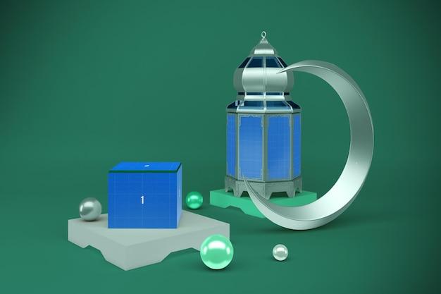 Рамадан рендеринг коробки в 3d-макете дизайна