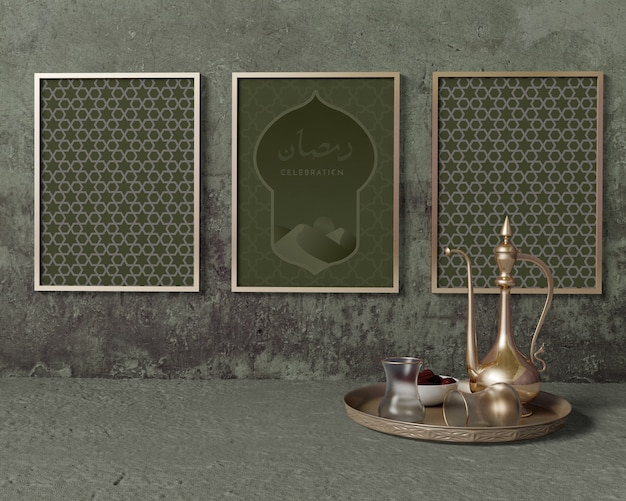 Ramadan composition mock-up with frames