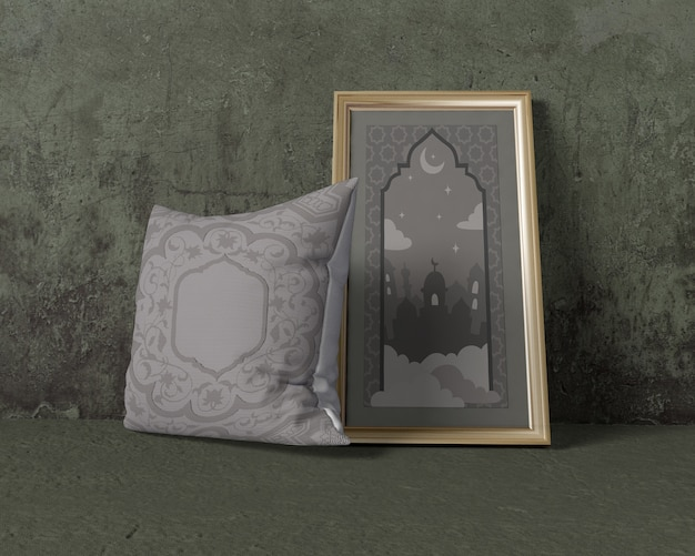 Ramadan composition mock-up with pillow and frame