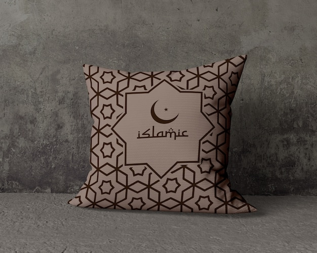 Ramadan composition mock-up with pillow