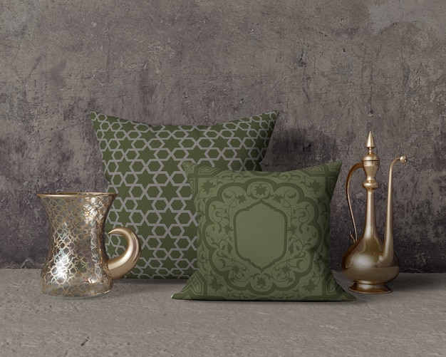 Ramadan composition mock-up with pillows