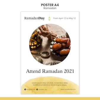 Modello di volantino per eventi di ramadan con foto