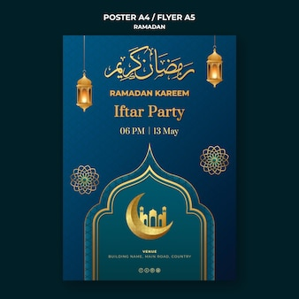 Ramadan event poster template with golden details