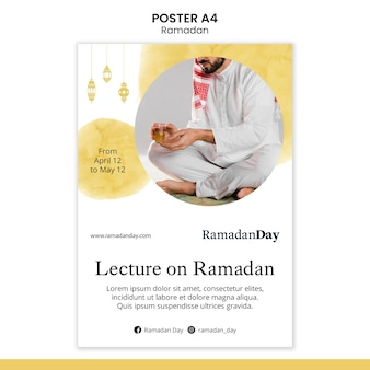Ramadan event poster template with photo