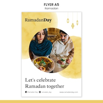 Шаблон плаката мероприятия рамадана с фотографией