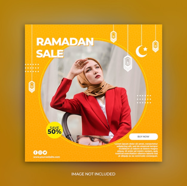 Ramadan fashion sale promotion banner template for social media post