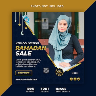 Ramadan fashion sale social media post banner design template