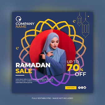 Ramadan fashion sale square banner template