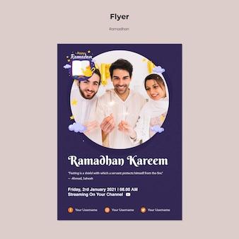 Modello di volantino ramadan con foto