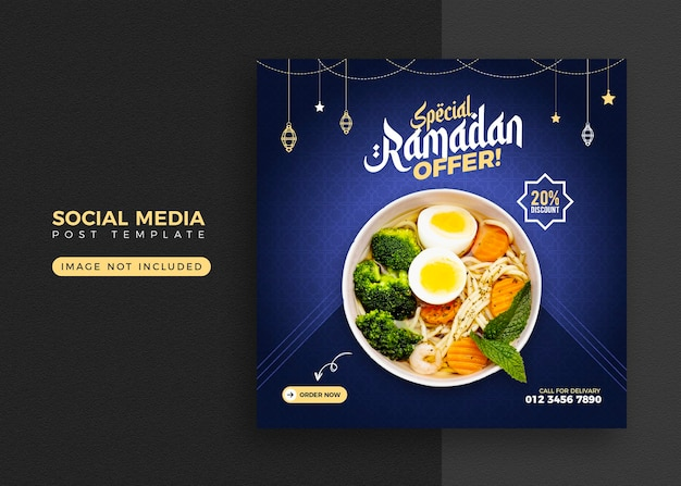 Ramadan food banner and social media post template design