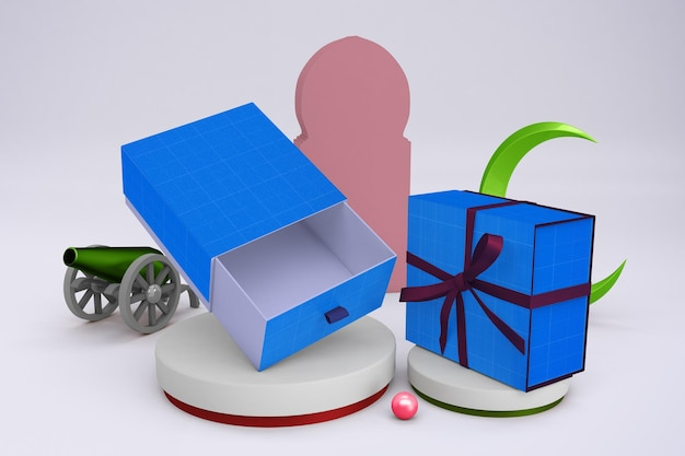 Дизайн мокапа подарочной коробки рамадан