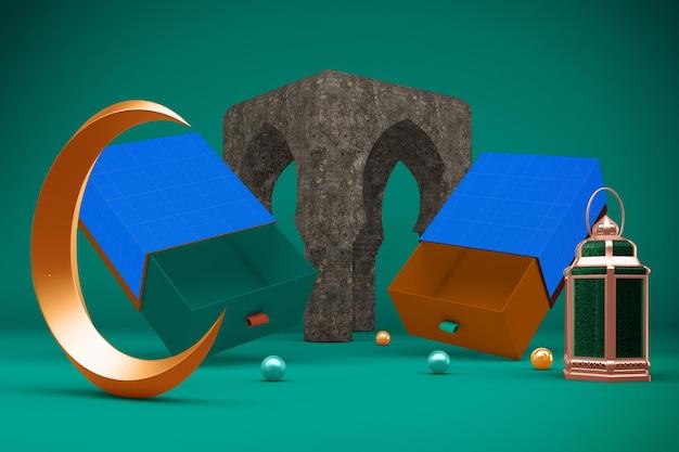 Рендеринг подарочной коробки рамадана в 3d-дизайне