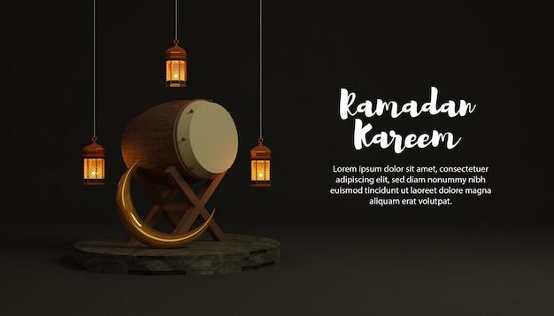 Рамадан карим 3d фон с постелью и лампой на подиуме