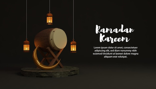 Ramadan kareem 3d background with bedug and lamp on podium