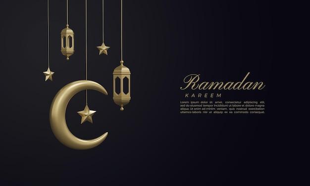 Ramadan kareem 3d render with golden moon and stars on dark background