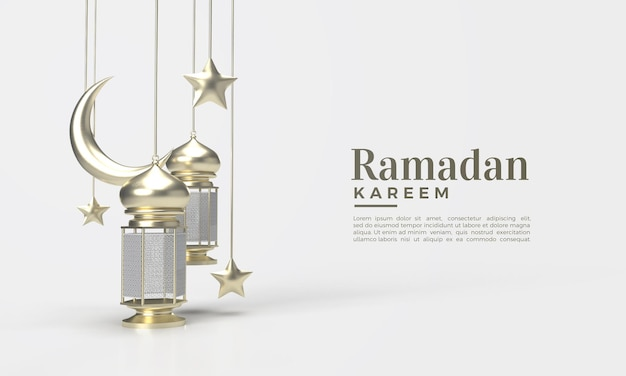 Ramadan kareem 3d render with illustration of lamp and moon container