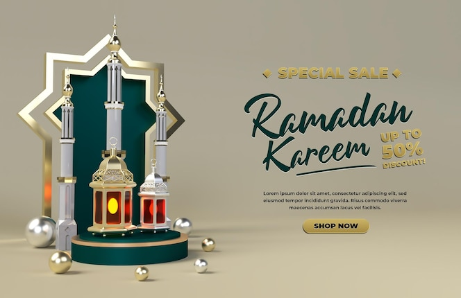 Ramadan kareem 3d sale promotion discount islamic holiday eid celebration render