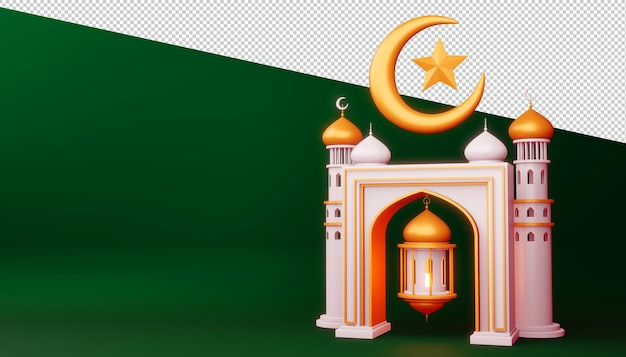 ラマダンカリームの背景、モスクの建物、3dレンダリングイラスト