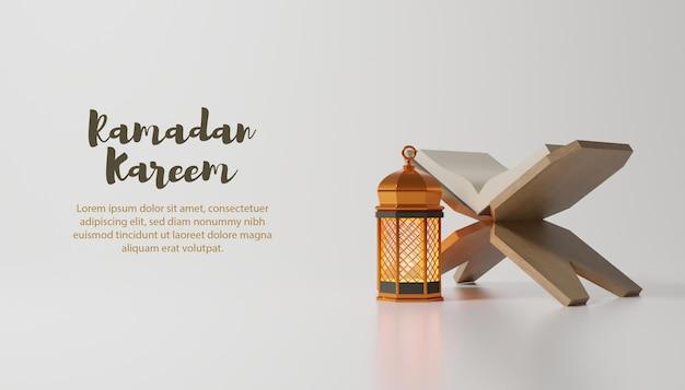 Ramadan kareem background with golden lamp and text