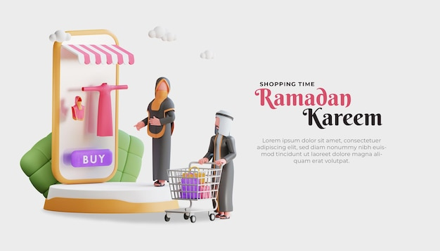 Рамадан карим баннер шаблон с 3d персонажем мусульманской пары и интернет-магазином