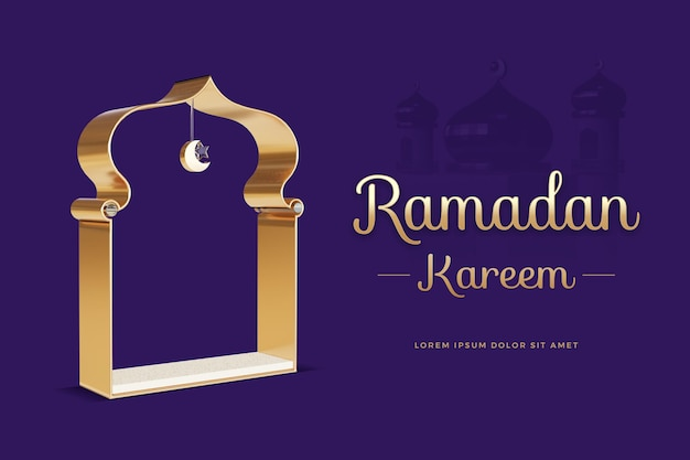 Рамадан карим дизайн с шаблоном 3d-рендеринга