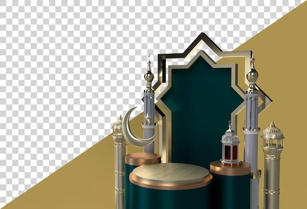 라마단 카림 이드 무바라크 3d 이슬람 축하 디자인