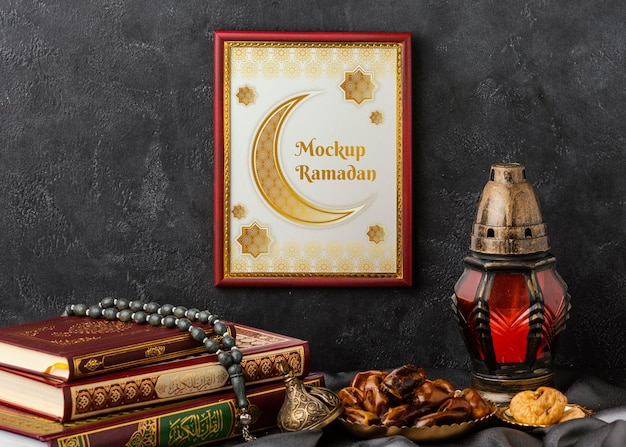Ramadan kareem frame and books