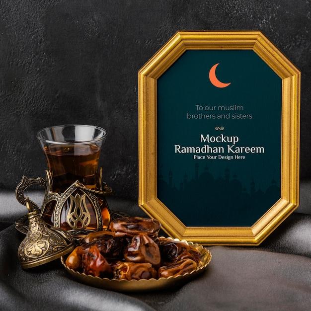 Рамадан карим макет золотой рамы
