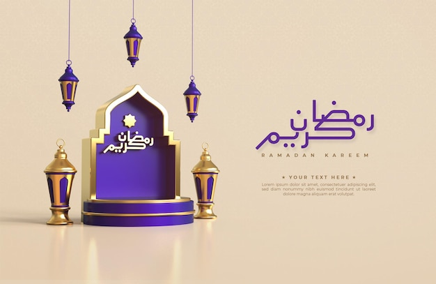 Ramadan kareem greeting background with realistic 3d islamic festive decorative elements