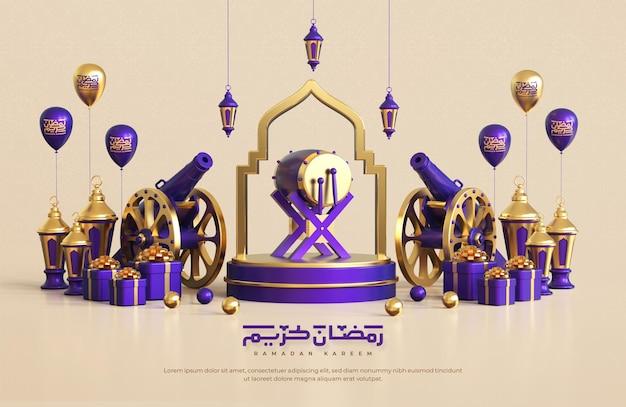 Рамадан карим приветствие фон с реалистичными 3d исламскими праздничными декоративными элементами