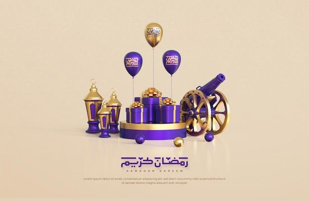 現実的な3dイスラムのお祭りの装飾的な要素とラマダンカリーム挨拶の背景