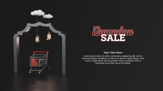 Ramadan kareem greeting card and sale banner 3d rendering concept