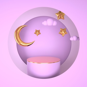 Рамадан карим приветствие дизайн с рендерингом луны