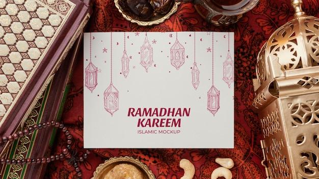 Ramadan kareem islamic mockup flat lay