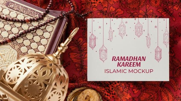 Ramadan kareem mockup islamico vista dall'alto