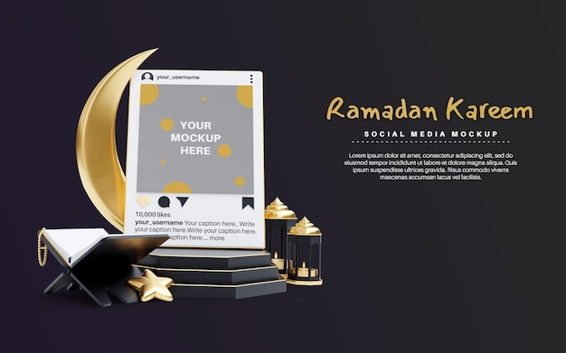 Ramadan kareem for islamic religion with social media post mockup