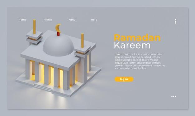 모스크 3d 렌더링과 라마단 카림 방문 페이지 템플릿