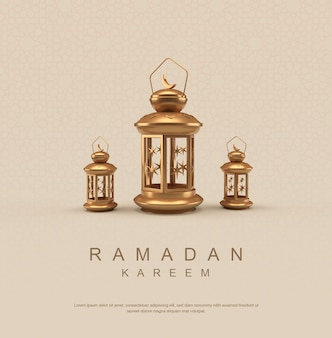 Poster di ramadan kareem con lanterna