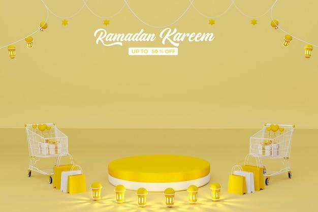 Ramadan kareem sale 3d rendering banner background