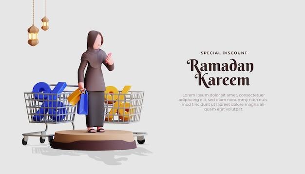 Рамадан карим распродажа баннер шаблон с 3d персонажем женского хиджаба и корзиной для покупок