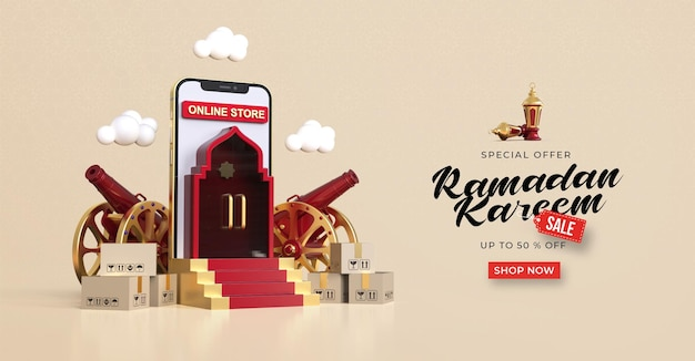 Ramadan kareem sale banner template with 3d online shopping on mobile applications