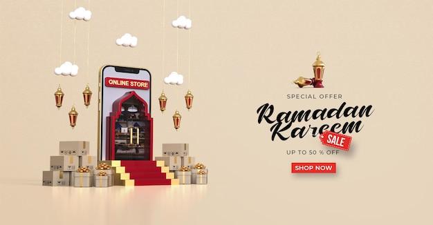 Рамадан карим распродажа баннер шаблон с 3d онлайн-покупками в мобильных приложениях