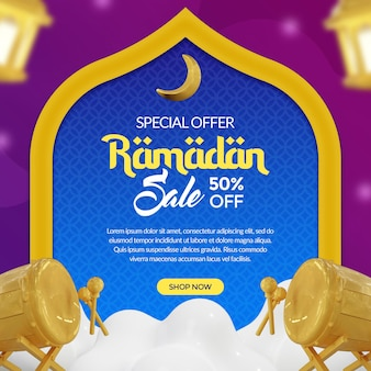 Ramadan kareem social media banner with gold lantern 3d rendering